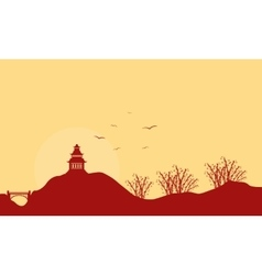 Landscape of pavilion with bird at sunset vector