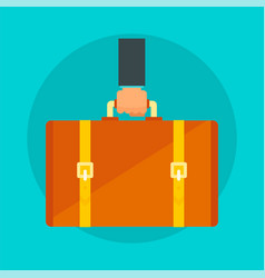 leather suitcase concept background flat style vector image