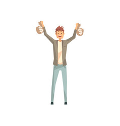 Lucky man holding two bags of money cartoon male vector