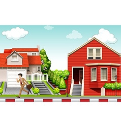 Man running from house vector image