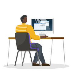 Man work on computer at office person workplace vector