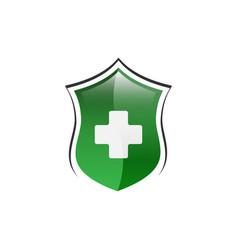 medical cross shield logo design vector image