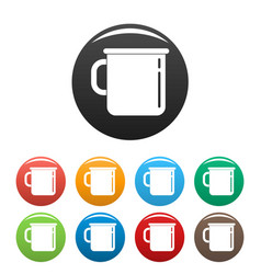 Metal cup icons set color vector