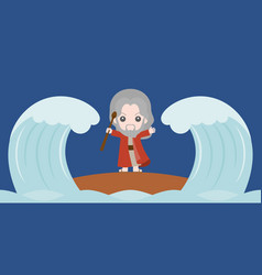 Moses dividing red sea in two parts vector