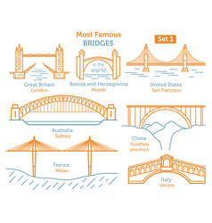 Most famous bridges in the world landmarks linear vector