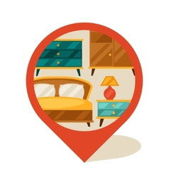 Navigation marker with furniture in retro style vector image