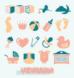 Newborn and Baby Icons and Symbols vector image
