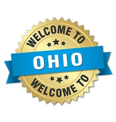 Ohio 3d gold badge with blue ribbon vector