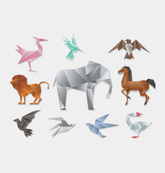 Origami animals 3d paper japanese animal set vector