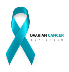 ovarian cancer awareness month realistic teal vector image