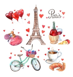 Paris symbols watercolor icons composition vector