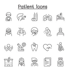 patient icons set in thin line style vector image