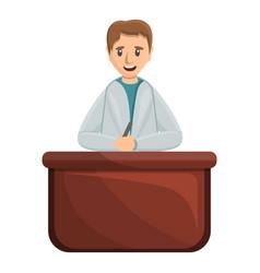 pediatrician on desktop icon cartoon style vector image