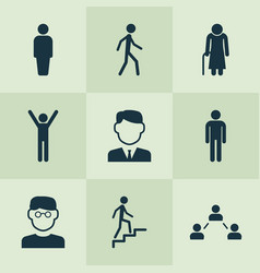 Person icons set collection of ladder scientist vector