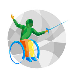 Physically disabled fencer with abstract patterns vector