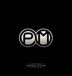 Pm initial letter linked circle capital monogram vector