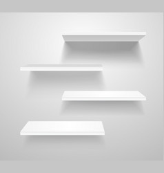 realistic 3d detailed white blank shelves template vector image