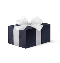 realistic mock up black locked box with bow vector image