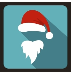 Red hat and long beard of Santa Claus icon vector image