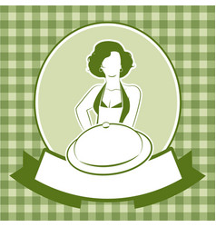 Retro housewife cook wearing apron carrying a vector