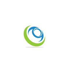 Round circle curve technology logo vector
