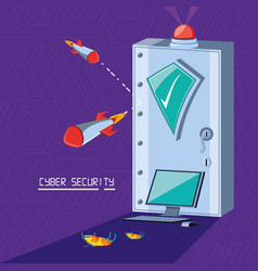 safe box with set icons cyber security vector image