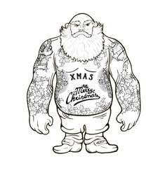 Santa with tattoos vector
