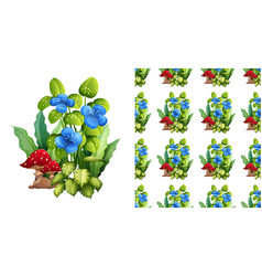 Seamless background design with blue flowers and vector
