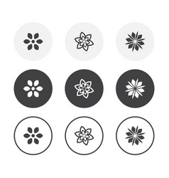 set 3 simple design flower icons rounded vector image