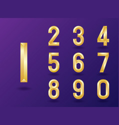 set 3d elegant gold numbers vector image