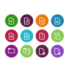 set files circle icons on white background vector image