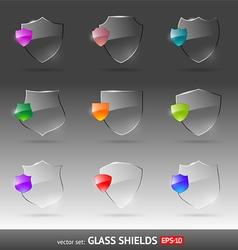 set glass heraldic shields vector image