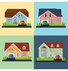 set house icons or symbols flat design vector image