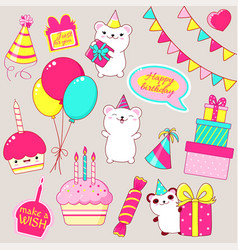 set of cute birthday party icons in kawaii style vector image