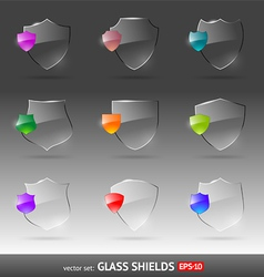set of glass heraldic shields vector image