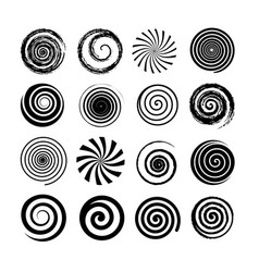 set of spiral and swirl motion elements black vector image