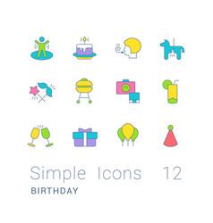 set simple line icons birthday vector image