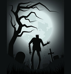 silhouette a scary zombie in old cemetery vector image