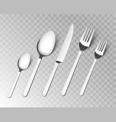 silverware fork spoon cutlery isolated vector image