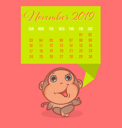 so cute monkey brown cartoon with colors calendar vector image