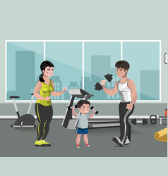Sports family flat template in gym vector