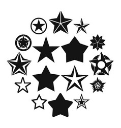 Star icons set simple style vector