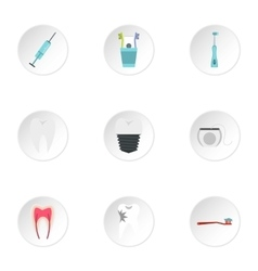 Stomatology icons set flat style vector