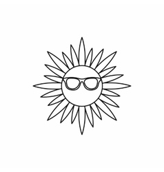 Sun in glasses icon outline style vector image