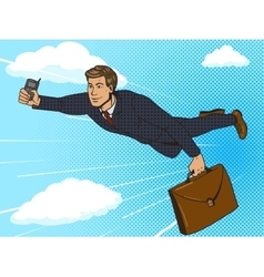 Super hero businessman flying sky pop art vector image