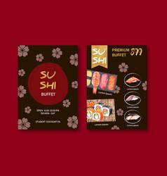 Sushi menu collection design with sakura vector