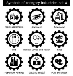 Symbols of category industries set 4 vector