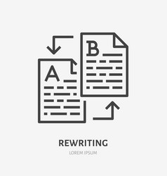 Text rewriting flat line icon translation vector