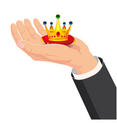 the hand that holds the crown gift cartoon style vector image