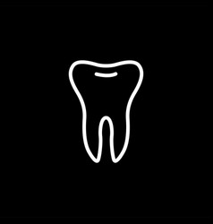 tooth line icon on black background dental black vector image